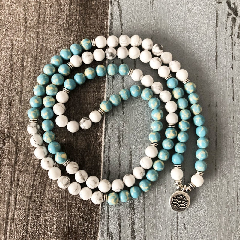 """I Am Balanced"" Howlite and Jasper Mala - 108 Beads With Lotus Charm"