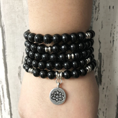 """I Am Grounded"" Onyx Mala - 108 Bead With Lotus Charm"