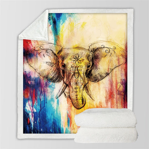 Image of Elephant Sherpa Fleece Throw Blanket