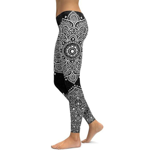 Women's Mandala Leggings - Black