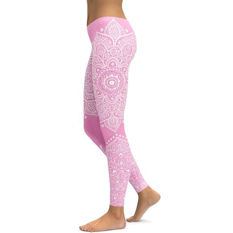 Women's Mandala Leggings - Pink