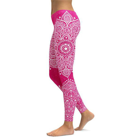 Image of Women's Mandala Leggings - Black to Pink