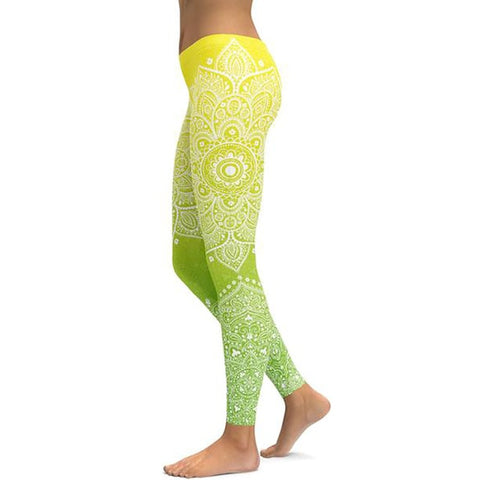 Women's Mandala Leggings - Yellow to Green