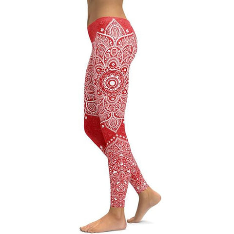 Image of Women's Mandala Leggings - Red