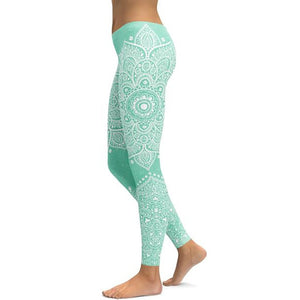 Women's Mandala Leggings - Green 1
