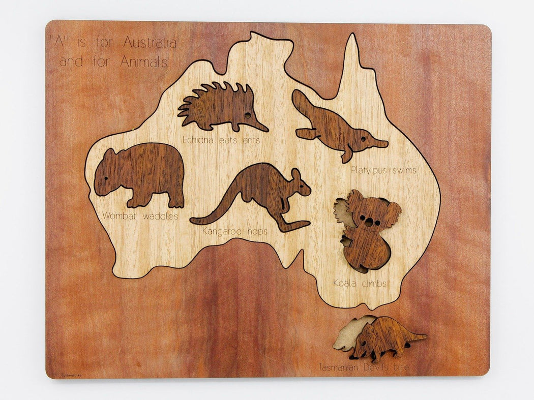 Buttonworks Timber Australian Map Puzzle