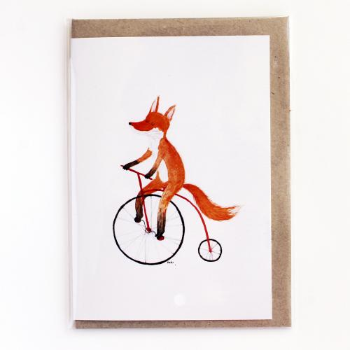 Surfing Sloth Bike Fox Card