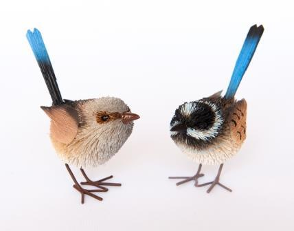 Pair of Blue Wrens Decoration