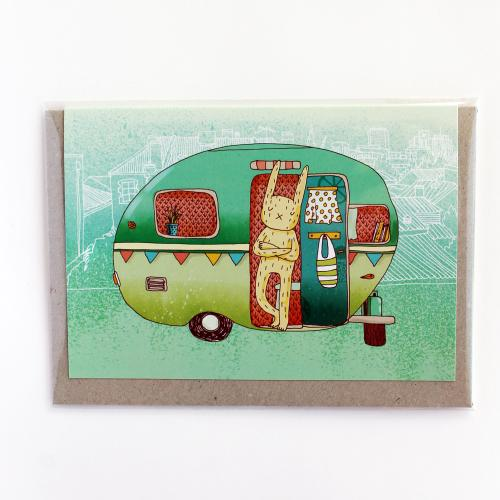 Surfing Sloth Camping Rabbit Card