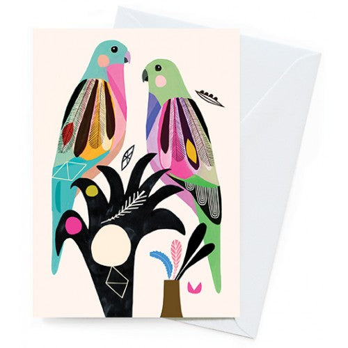 Earth Greetings Inaluxe Princess Parrots Card
