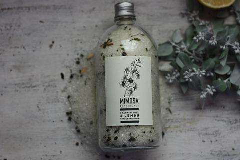 Mimosa Botanicals Luxury Bath Soak Apothecary Bottle