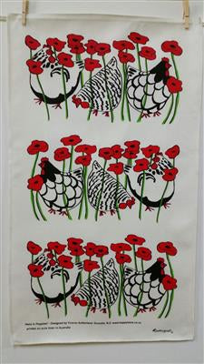 Happy Hens In Poppies Linen Tea Towel