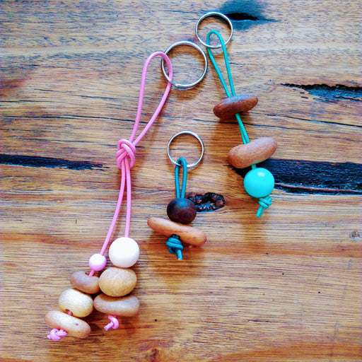 Leather and Timber Bead Key Ring