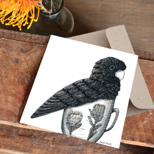 Renee Treml Tea Cosy Black Cockatoo Card