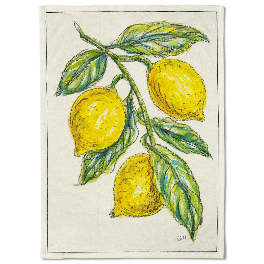 Watercolour Lemons Tea Towel