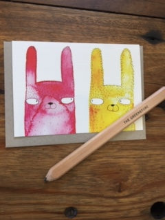 Surfing Sloth Rabbits Heads Card
