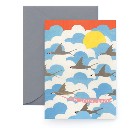Welcome Baby Swallows Card