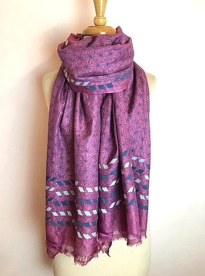 House of Wandering Nakshi Kantha Embroidered Wrap