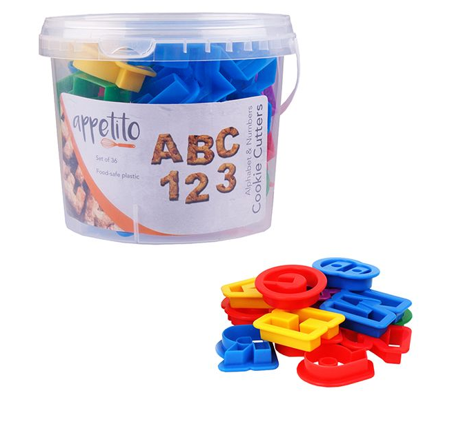 ABC 36 piece Alphabet & Number Cookie Cutter Set In A Tub