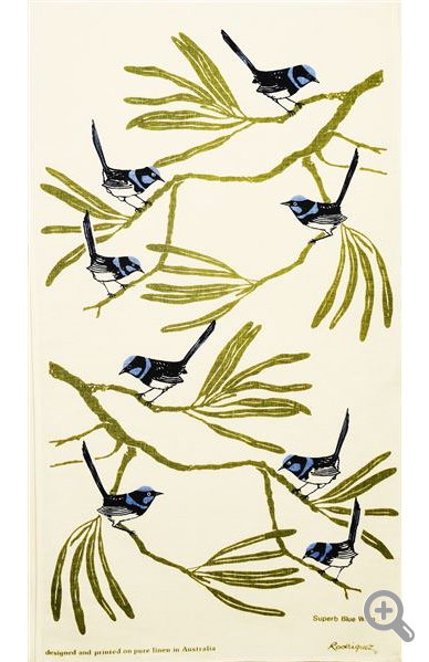 Rodriguez Superb Blue Wren Linen Tea Towel