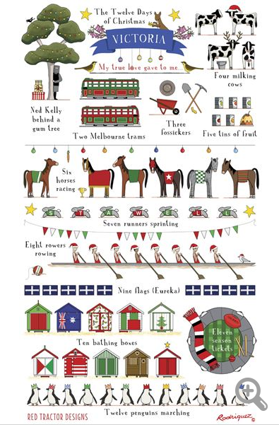 Red Tractor 12 Days of Christmas Victoria Linen Tea Towel