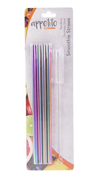 Rainbow Stainless Steel Straight Smoothie Straw Set of 4 with Brush
