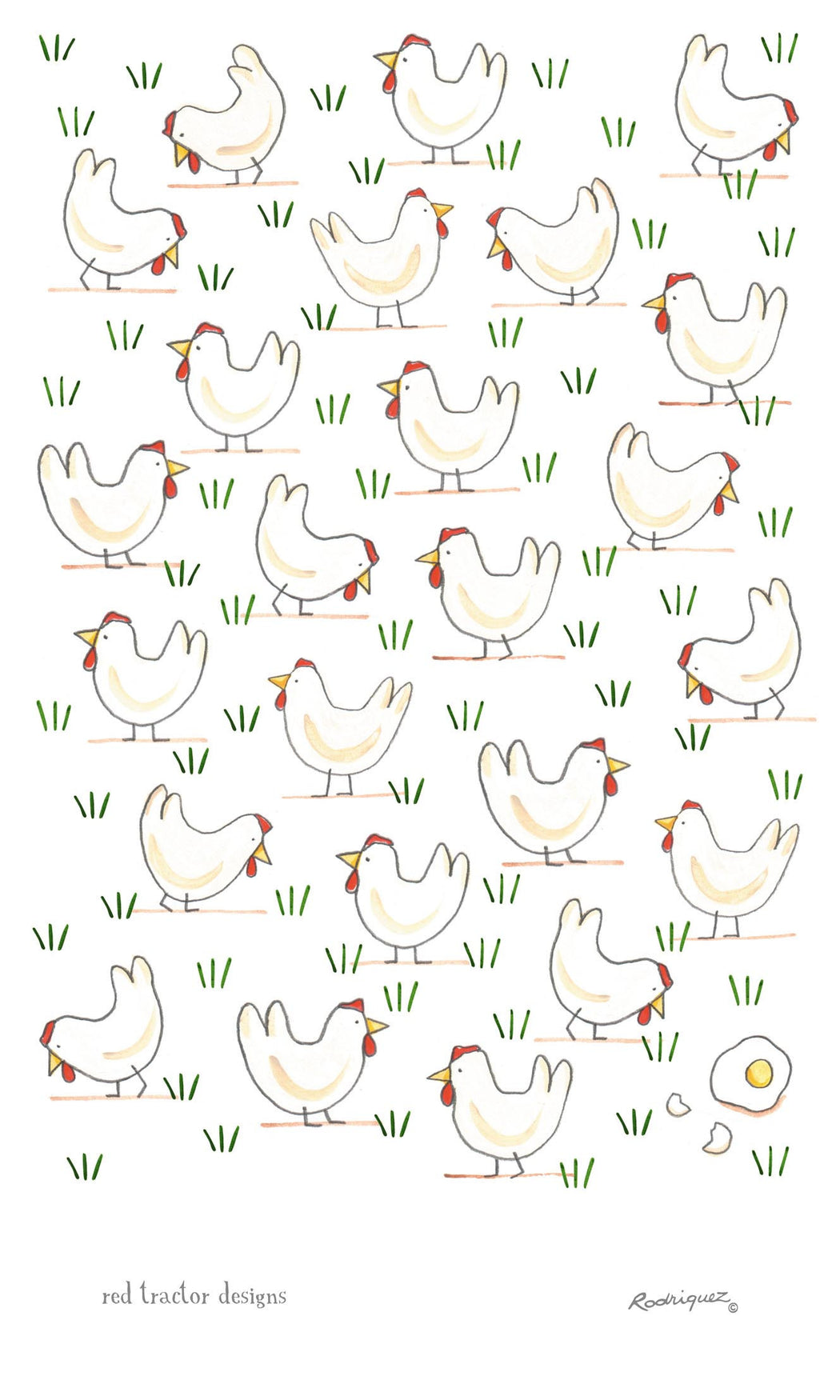 Red Tractor Free Range Eggs Linen Tea Towel