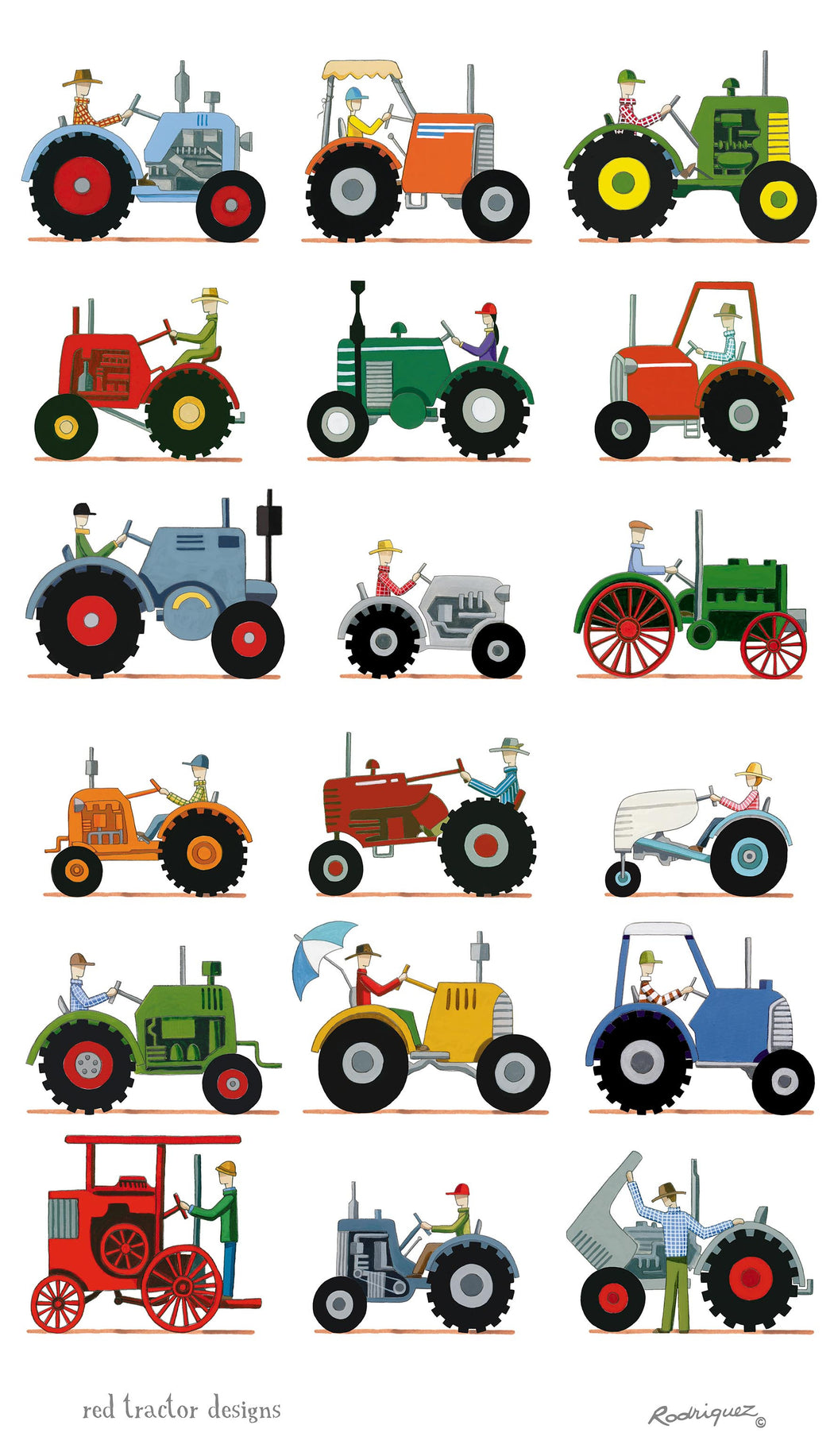 Red Tractor The Tractor Show Linen Tea Towel