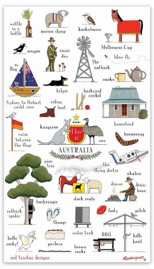 Red Tractor This Is Australia Linen Tea Towel