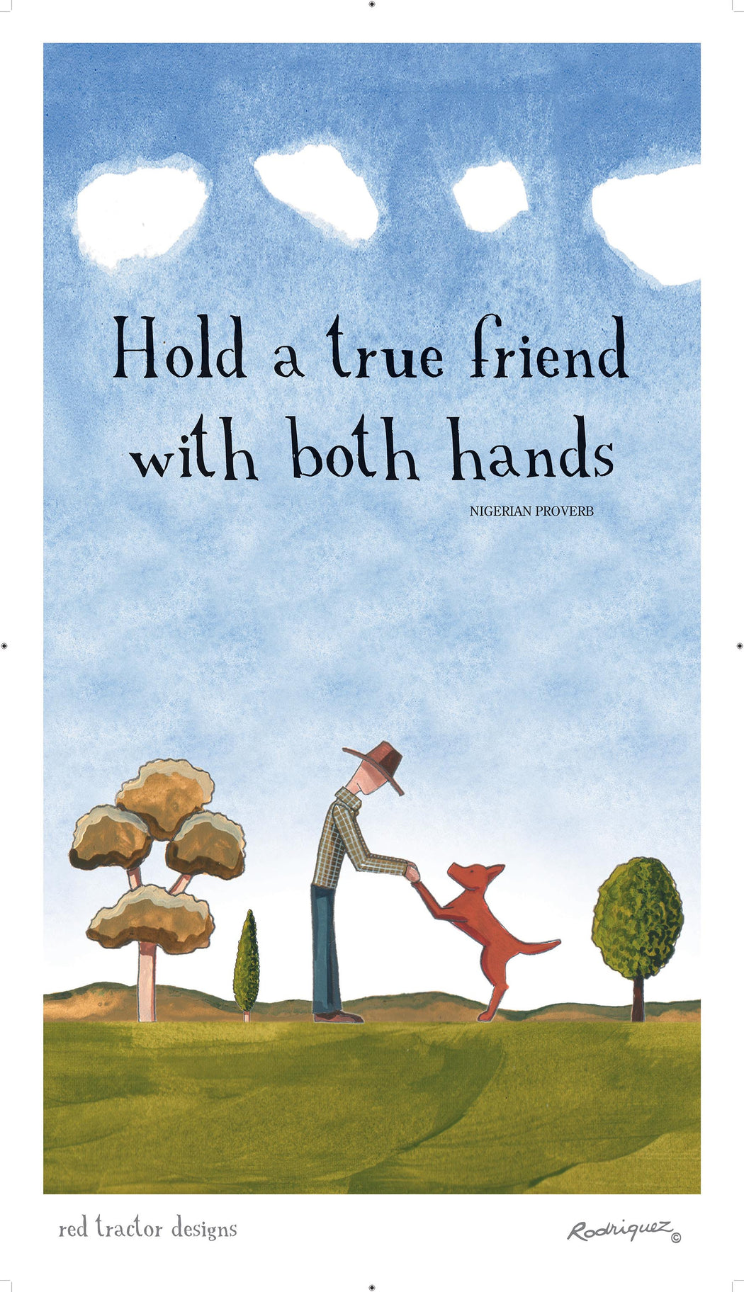 Red Tractor True Friend Linen Tea Towel