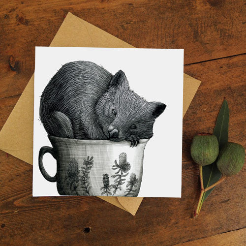 Renee Treml Tea Cozy Wombat Card