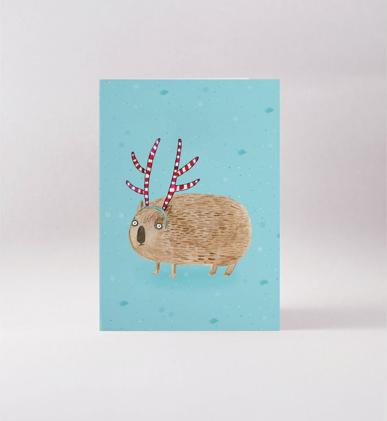 Surfing Sloth Antler Wombat Card