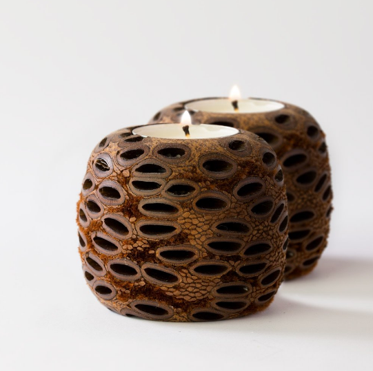 Banksia Pod Set of 2 Tea Light Candle Holders
