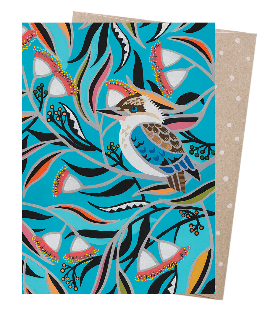 Earth Greetings Mulla Mulla Kookaburra Gum Card