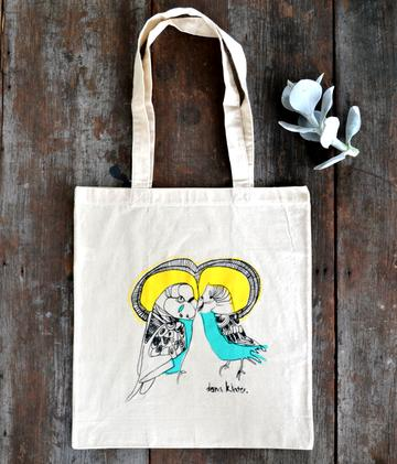 Dana Kinter Love Budgie Tote Bag