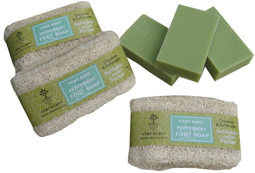 Handmade Peppermint Foot Soap with Loofah Pocket