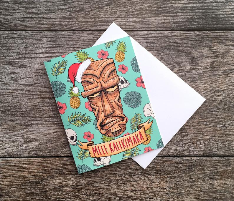 Bee Is For Bear Tiki Christmas Mele Kalikimaka Card
