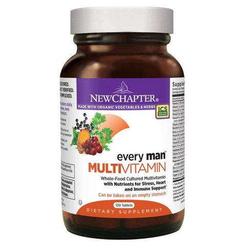 New Chapter Every Man, Men's Multivitamin Fermented with Probiotics + Selenium + B Vitamins + Vitamin D3 + Organic Non-GMO Ingredients - 120 Tablets