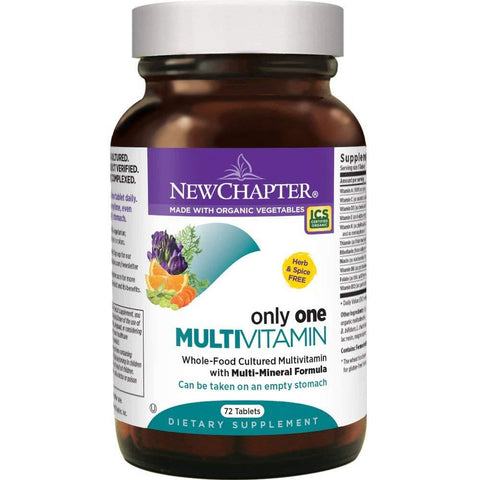 New Chapter Only One Multivitamin Organic Whole-Foods with Probiotics + B Vitamins + Vitamin D3 Non-GMO - 72 Tablets