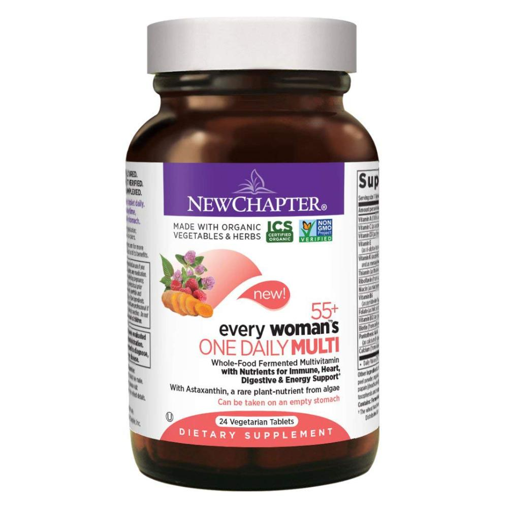 New Chapter Multivitamin Every Woman's One Daily 55+ with Fermented Probiotics + Whole Foods + Astaxanthin + Vitamin D3 + B Vitamins - 24 Vegetarian Tablets