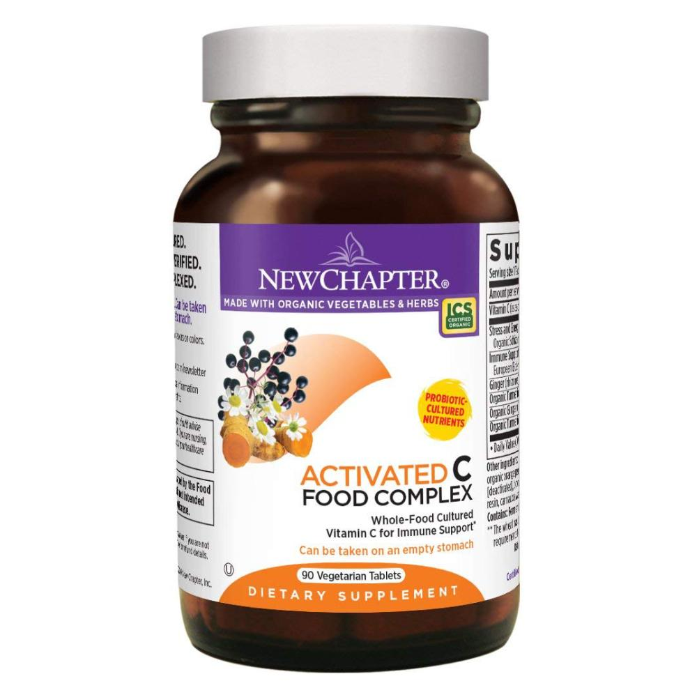 New Chapter Activated C Food Complex Whole-Food Vitamin C Supplement for Immune Support - 90 Vegetarian Tablets