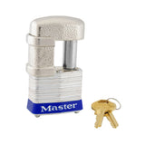 Master Lock 1-9/16in (40mm) Wide Shrouded Laminated Steel Pin Tumbler Padlock, Keyed Alike