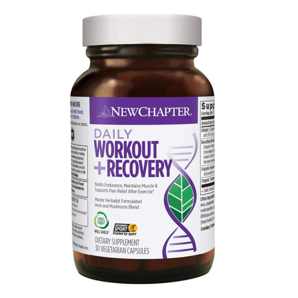 New Chapter Daily Workout plus Recovery Supplement for Pre Workout, During and Post Workout - 30 Vegetarian Capsules