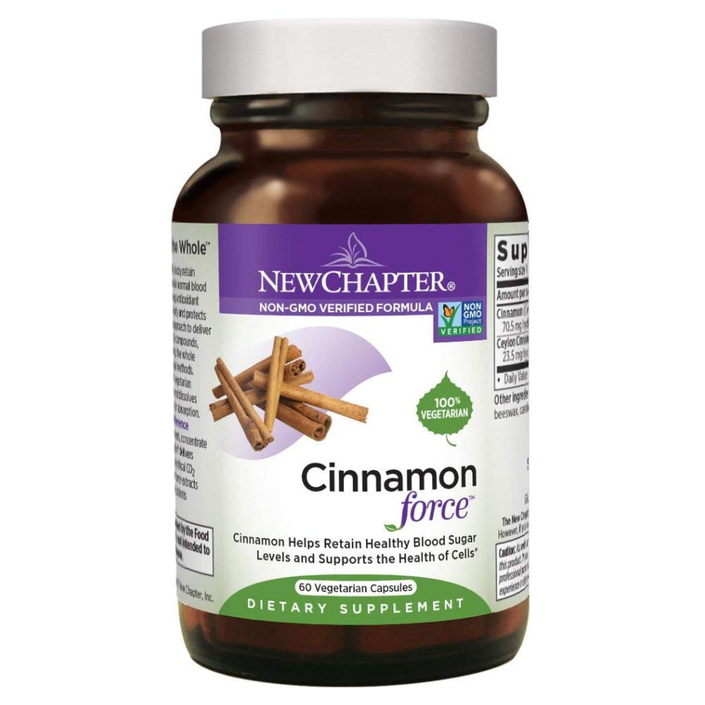 New Chapter Cinnamon Force Supplement for Blood Sugar Support with Antioxidant Action Non-GMO - 60 Vegetarian Capsules