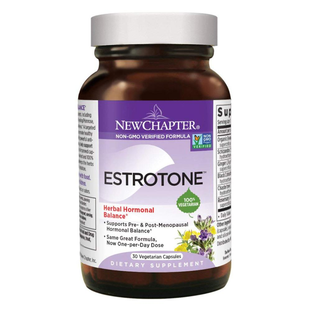 New Chapter Menopause Supplement - Estrotone with Evening Primrose Herbal Hormonal balance - 30 Vegetarian Capsules