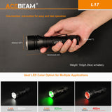 Acebeam L17 Tactical Flashlight with White, Green, Red LED Light