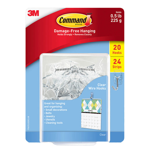 Command Small Wire Hooks Clear Plastic 20 Count 24 Adhesive Strips 0.5 lb