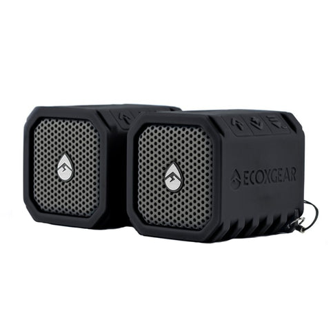 ECOXGEAR EcoDuo Waterproof Rechargeable Speakers 2 Pack Bluetooth Ready - Black