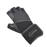 Half Finger Leather Padded Weight lifting Gloves with Wrist Wrap