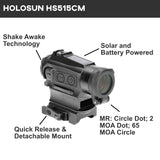 Holosun HS515CM 20mm Micro Optical Sight Red 2 MOA and 65 MOA Solar Powered
